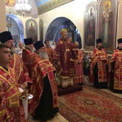 Преосвященный Алексий совершил Всенощное бдение в Иоанно-Предтеченском кафедральном соборе