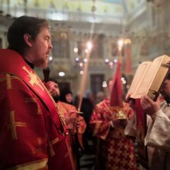 Преосвященный Алексий совершил Всенощное бдение в канун престольного праздника собора Ново-Тихвинского женского монастыря