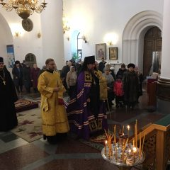 Преосвященный Алексий совершил Литургию в Спасо-Преображенском кафедральном соборе